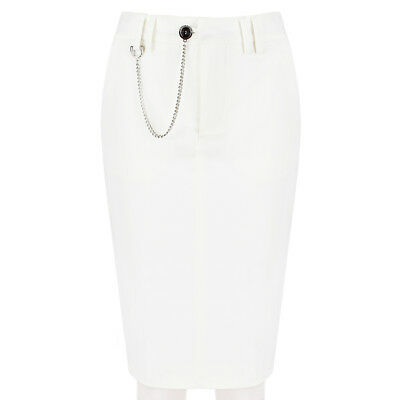 dcc843c4c DSQUARED2 OFF WHITE Denim Chain Embellished Pencil Skirt IT40 UK8 - $118.88  | PicClick