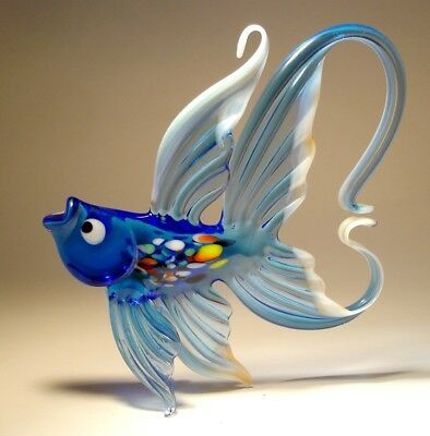Blown Glass Figurine Art Hanging Blue & White FISH with Arched Tail Ornament
