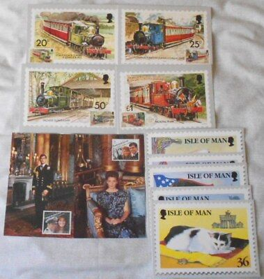 GB Isle of Man Maxi cards - trains, cats, royal wedding - PHQ stamped cards