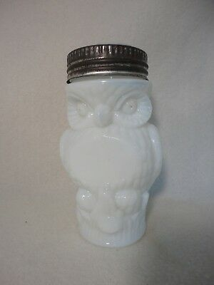 Antique Milkglass Owl Mustard Jar With Eagle Lid
