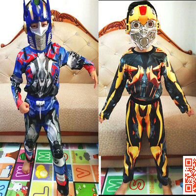 New Size 2-12 Kids Superhero Transformers Bumblebee Costumes Boys Optimus Prime