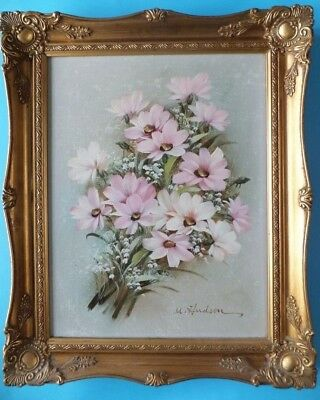 Original Oil On Canvas Still Life Floral Flower Painting By M Hudson Gilt Framed