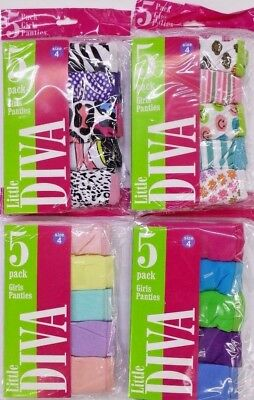 Girls Briefs 5 Panties Pack - 100% Cotton from size 4 to 14