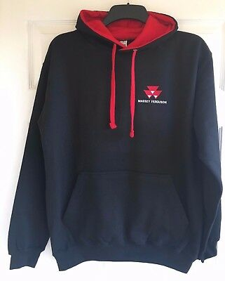 Massey Ferguson Tractor Embroidered Contrast Hoodie - XS to 5XL