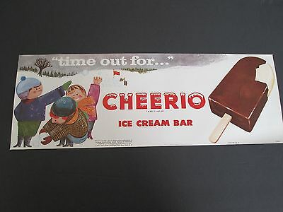NOS 1962 Cheerio Ice Cream Bar - Vintage Advertising Paper Poster - Litho