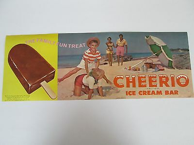NOS 1963 Cheerio Ice Cream Bar - Vintage Advertising Paper Poster - Litho
