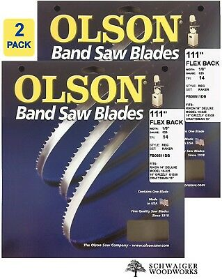 "Olson Band Saw Blades 111"" inch x 1/8"", 14 TPI for Rikon 10-325, Grizzly G1538"