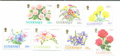 Guernsey Flowers set of 7 one side imperf from booklets mnh