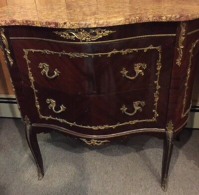 Antique French Victorian Sideboard Commode  Marble Mahogany 35 1/2""