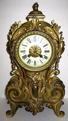 Vintage Antique Rococo Style Ornate Shelf Mantel Clock Gold Finish