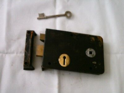 Vintage Antique Rim Lock / keep & key, Latch Door  Locks