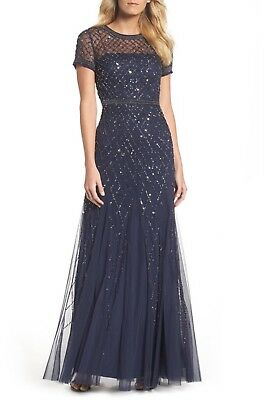 NWT $318  Adrianna Papell Beaded Mesh Gown Champagne Size :8 10 #D14