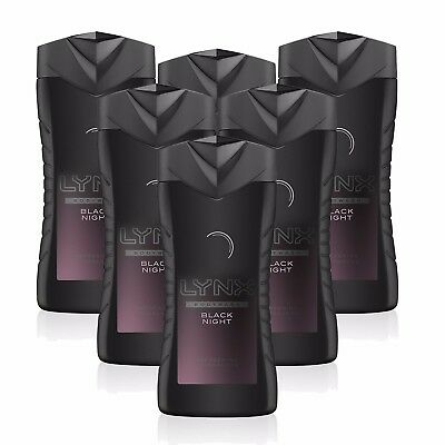 Lynx Black Night Shower Gel Body Wash Refreshing Fragrance 6 X 250Ml