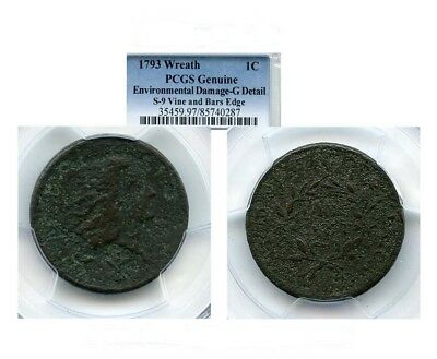 Rare 1793 Wreath Cent. Vine And Bars Edge