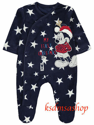 Baby Boy All In One Fleece Pyjamas Sleepsuit First Christmas PJS Mickey Mouse