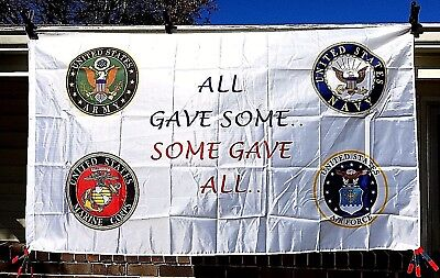 "NEW Military Flag ""All Gave Some"" US Army Navy Air Force Marines Logo 3x5 ft"