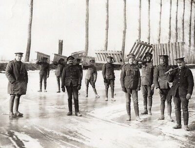 WWI Western Front Soldiers on Frozen Canal France or Belgium? Old Photo 1914-18