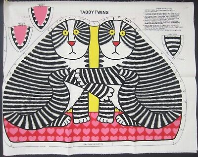 RARE Vintage c.1978 KLIBBAN CAT TABBY TWINS Printed PILLOW Craft Kit Unused