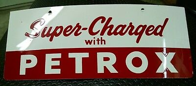 Super Charged w/PETROX-Tin  NOS Add-On Pump Sign 30's-60's