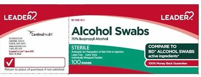 Leader Alcohol Swabs, 70% Isopropyl Alcohol, Sterile, 100 Swabs