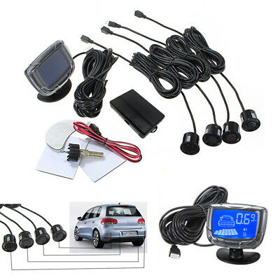 LCD Car Reverse Radar +Rear View 4 Parking Sensor Backup Alarm System Buzzer Kit