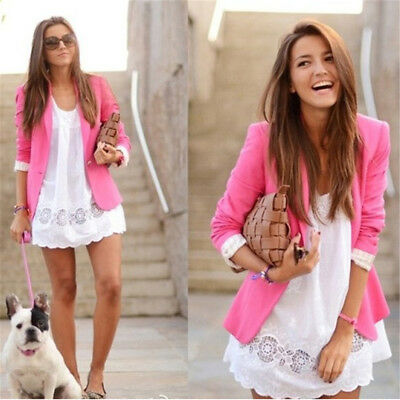 Stylish Women's Long Sleeve Slim Fit Blazer Office Suit Jacket Candy Color Coat