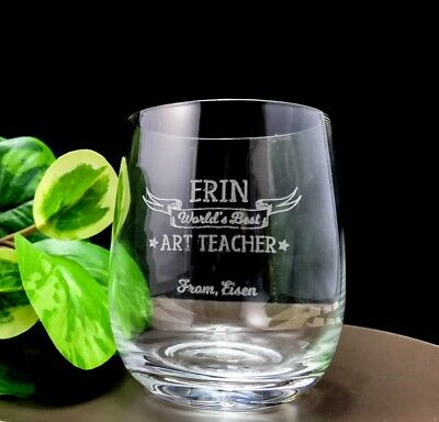 Teacher Thank You Gift - Personalised Engraved Crystal Stemless Wine Glass 11 Oz