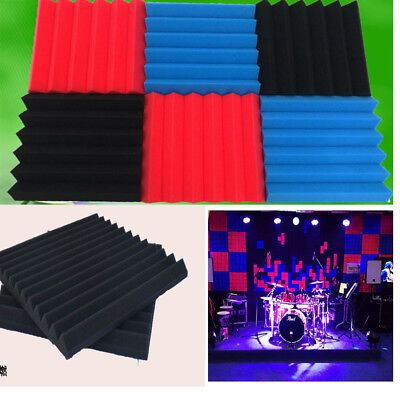 "24 Pack Soundproofing Foam Wall Tiles for Acoustic Wedge Studio 12"" X 12"" X 1"""
