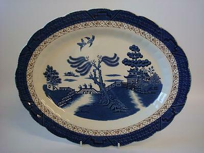 """Booths Real Old Willow A 8025 Large 13.75"""" Platter Meat Dish"""