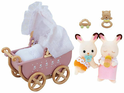 Sylvanian Families Chocolate Rabbit Twins With Pram Fashion Accessories Set New