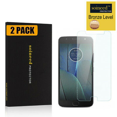 [2-Pack] SOINEED Motorola Moto G5S Plus Tempered Glass Screen Protector Saver