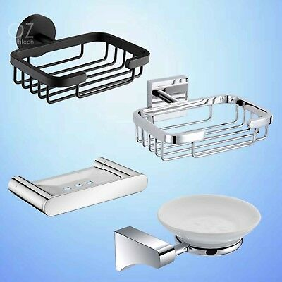 Bathroom Stainless Steel Shower Wall Mount Soap Basket Holder Dish Black/Mirror