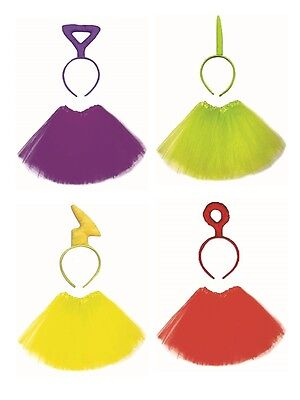 TeleTubbies Tutu Layered Skirt and Headband Set Tulle Fancy Dress Stretch 90's