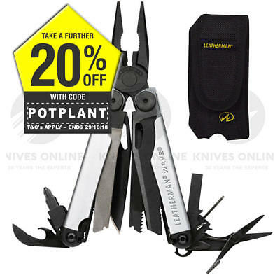Limited Edition Leatherman Wave Black Oxide Silver Stainless Multitool + Sheath
