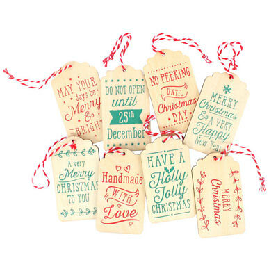 Wooden Christmas Gift Tags Xmas Labels Decorations - blank on back for message