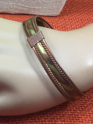 Vintage Style Bracelet Copper & Brass Woven Large Mans Mixed Metal Cuff