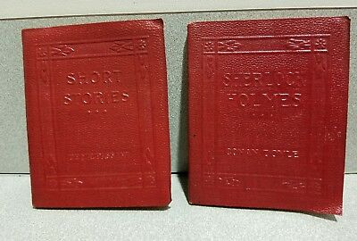 Lot of 2 Vintage Miniature Leather Books Sherlock Holmes and Short Stories
