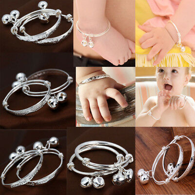 Fashion 925 Silver Filled Bells Bangle Adjustable Wistbands Girl Boy Baby Gift