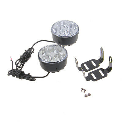 2 Pcs 4 LED Round Daytime Running Light Car 12V Fog Lamp Universal Driving DRL