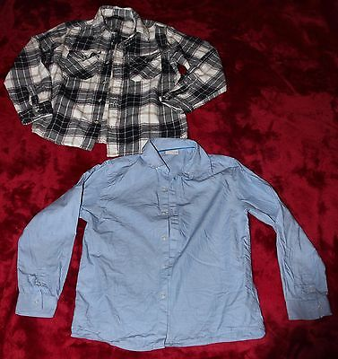 2 Item Boys Clothes Bundle Kids Age 10-11 Years George Check & Next Dress Shirts