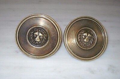 Pair of Greece Vintage Solid Brass Door Knobs Handles Lion Head Push/Pull #1