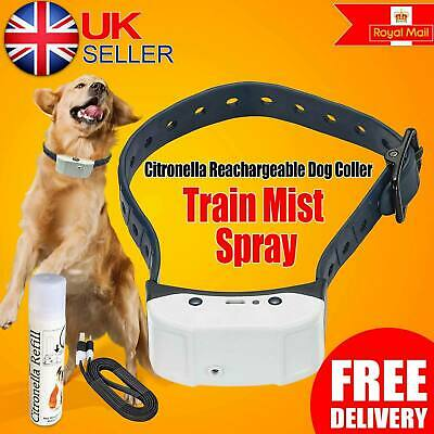 Stop Barking Rechargeable Citronella Dog Spray Collar No Anti Bark Train Mist UK