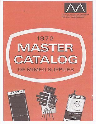 "1972 ""enlarged"" Copy Of Master Catalog Of Mimeograph Supplies 'free Shipping'"