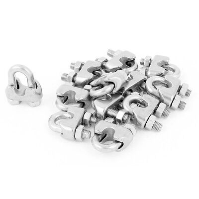 5mm 3/16 Inch Stainless Steel Wire Rope Cable Clamp Clips 12Pcs J9P6