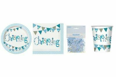 Blue Bunting Boys Christening Tableware, Balloons, Decorations Party