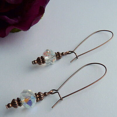 Victorian Vintage Style Antique Copper Clear AB Crystal Long Dangle Earrings