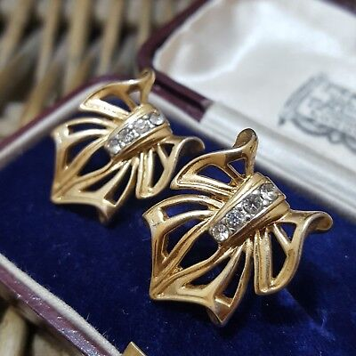 Vintage Trifari Gold Tone Stud Earrings, 1970's , Large Bow Design, Singed
