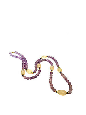 CHINESE DECO AMETHYST & ROCK CRYSTAL 14k Gold Bead Necklace Purple Silk