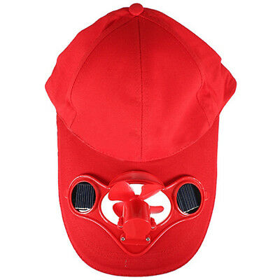 Solar Sun Power Hat Cap Cooling Cool Fan - Red H8G3