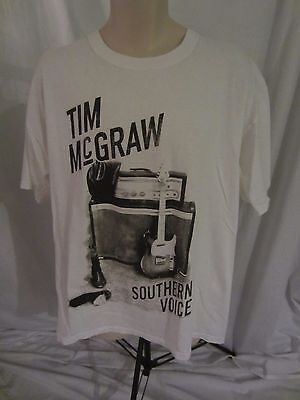 Tim McGraw Southern Voice Tour 2010 Concert White Graphic T-Shirt - Adult 2XL
